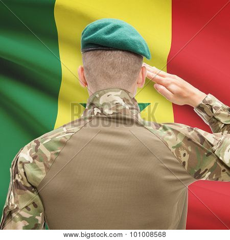 National Military Forces With Flag On Background Conceptual Series - Senegal