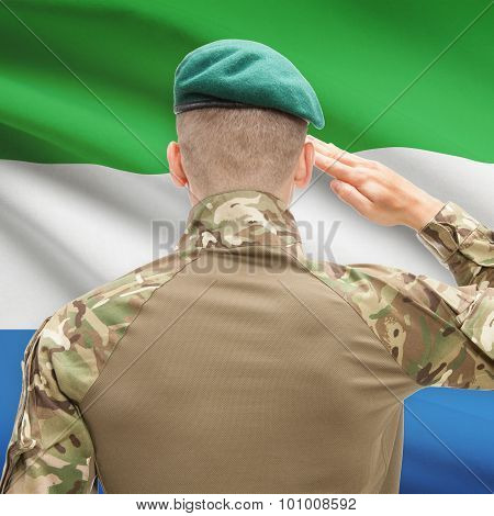 National Military Forces With Flag On Background Conceptual Series - Sierra Leone