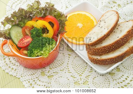 Fresh Vegetable Salad Bowl With Whole Wheat Bread
