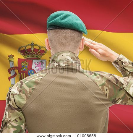 National Military Forces With Flag On Background Conceptual Series - Spain