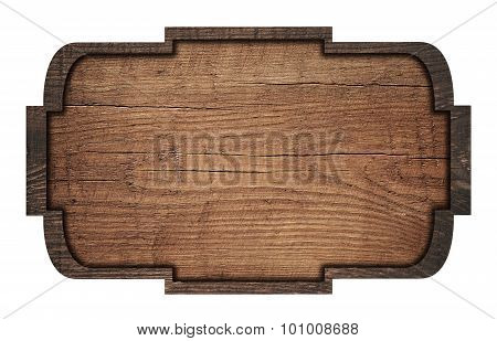 Brown wooden signboard, plate, plank and dark frame on white background