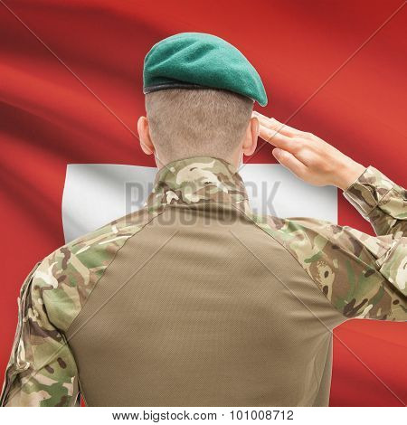 National Military Forces With Flag On Background Conceptual Series - Switzerland