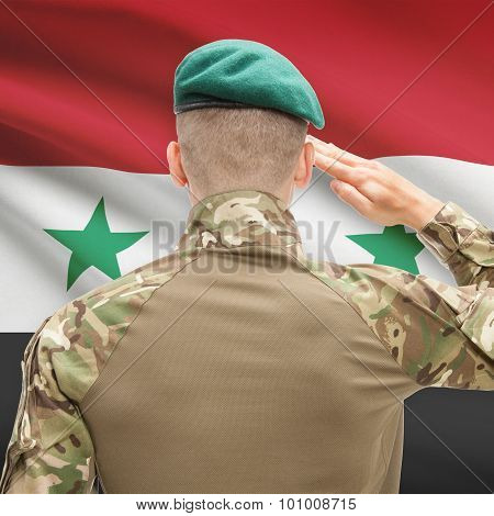 National Military Forces With Flag On Background Conceptual Series - Syria