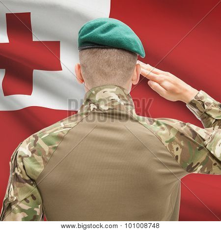National Military Forces With Flag On Background Conceptual Series - Tonga