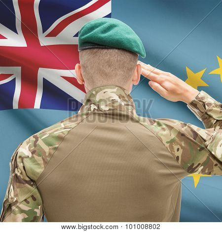 National Military Forces With Flag On Background Conceptual Series - Tuvalu