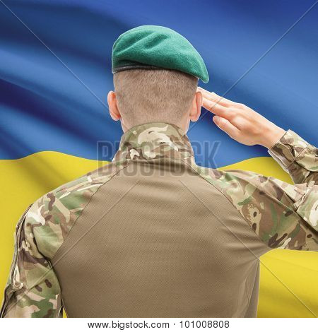 National Military Forces With Flag On Background Conceptual Series - Ukraine