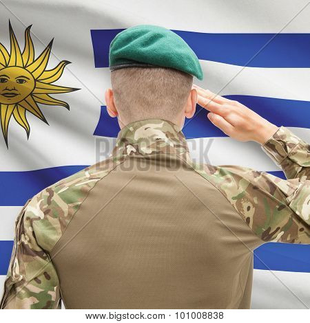 National Military Forces With Flag On Background Conceptual Series - Uruguay