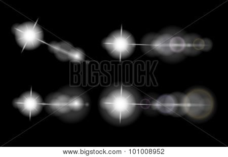 Vector set of lens flares, stars, glowing elements, isolated on black background, eps10