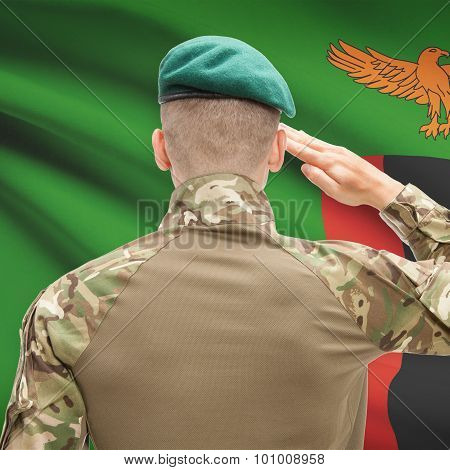 National Military Forces With Flag On Background Conceptual Series - Zambia