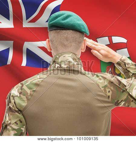 Soldier Saluting To Canadial Province Flag Conceptual Series - Manitoba