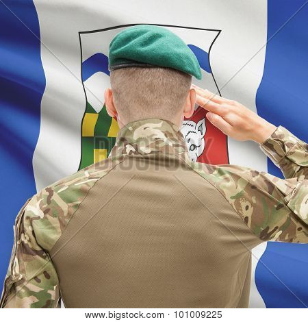 Soldier Saluting To Canadial Province Flag Conceptual Series - Northwest Territories
