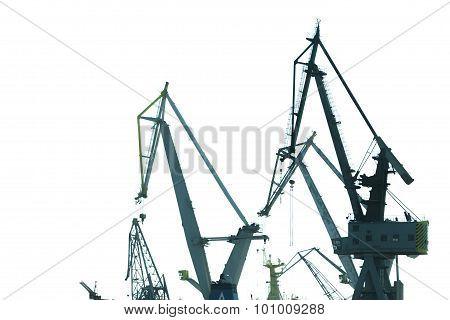 Heavy Load Dockside Cranes On White