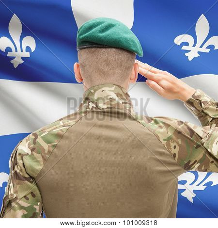 Soldier Saluting To Canadial Province Flag Conceptual Series - Quebec