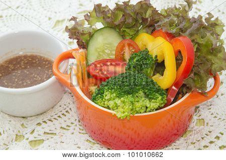 Mix Healthy Salad And Salad Dressing