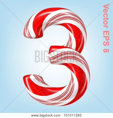 Mint hard candy cane vector number collection striped in Christmas colours. Figure 3. Eps 8 using mesh.