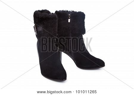 Female Black Leather Ankle Boots