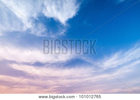 Blue And Pink Cloudy Sky Background Photo
