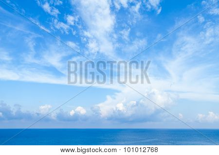 Sea Landscape With Bright Blue Cloudy Sky