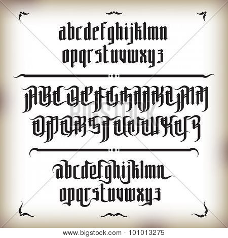 Modern Gothic Style Font. Gothic letters with decorative elements