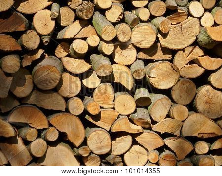 Stack of split logs