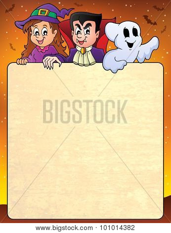 Frame with Halloween characters topic 3 - eps10 vector illustration.