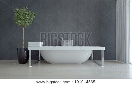 Elegant White Bathtub Inside a Simple Modern Bathroom with a Green Plant Decoration Against Gray Wall Background. 3d Rendering