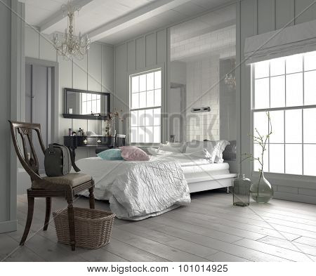 Large spacious modern white bedroom interior with a king size bed flanked by two windows, dressing table and mirror, and a bare parquet floor. 3d Rendering
