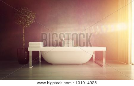 Bright Sunlight Streaming Through Window of Modern Bathroom with Contemporary Free Standing Bathtub with Potted Plant. 3d Rendering