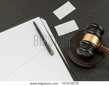 Wooden Judges Gavel, Business Cards On Black Leather Desk