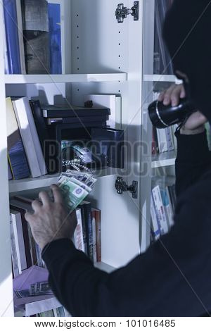 Robber Breaking Into A Safe