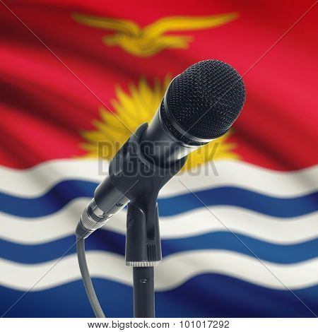 Microphone On Stand With National Flag On Background - Kiribati