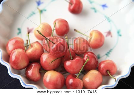 Fresh cherries in a floral dish