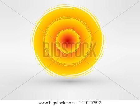 Sun icon made from power symbols. Solar energy logo design concept. Creative sign template.