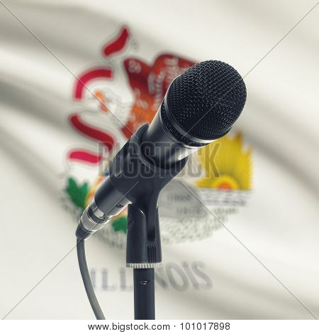 Microphone On Stand With Us State Flag On Background - Illinois