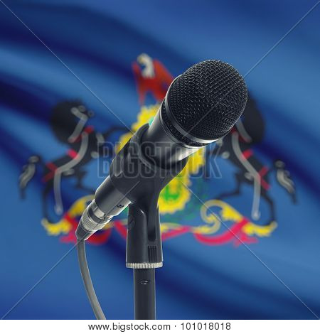Microphone On Stand With Us State Flag On Background - Pennsylvania