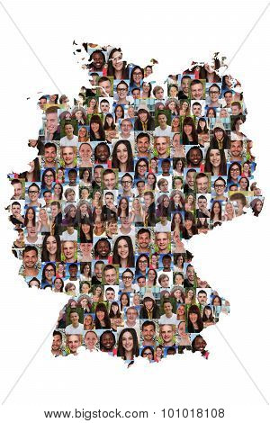 Germany Map Multicultural Group Of Young People Integration Diversity