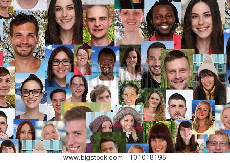 Background Collage Group Of Multiracial Young Smiling People Social Media
