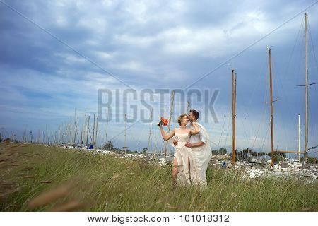 Kissing Couple In Valley