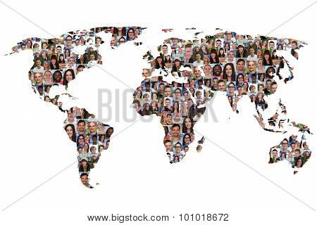 World Map Earth Multicultural Group Of People Integration Diversity