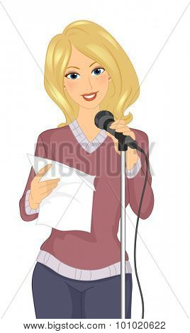 Illustration of a Girl Standing in Front of a Mic While Reciting Poetry