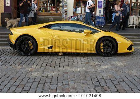 EDINBURGH SCOTLAND UK - CIRCA AUGUST 2015: yellow Lamborghini Gallardo Willimantic parked on a street of the city centre