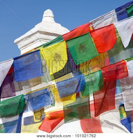Prayer Flags Around Bodhnath Stupa In Kathmandu, Nepal