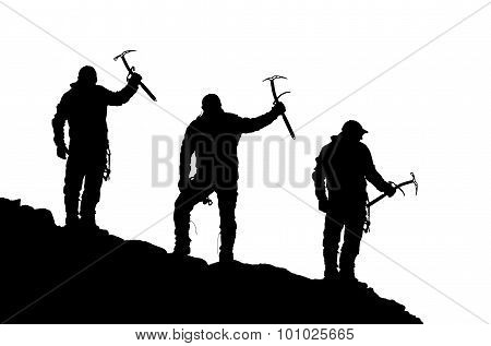 Black Silhouette Of Three Climbers With Ice Axe In Hand
