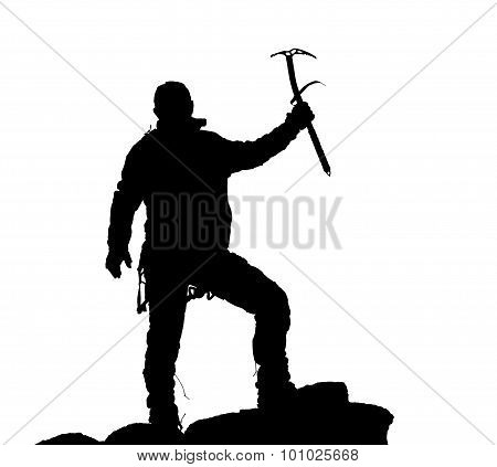 Black Silhouette Of Climber With Ice Axe In Hand