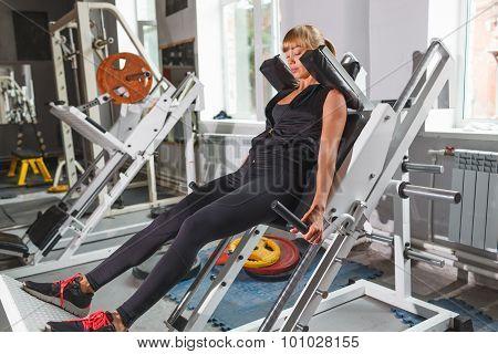 Beautiful fitness model workout, squat