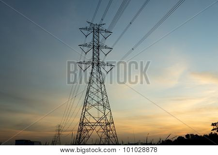 Silhouette electric pole