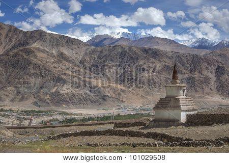 Scenic view of sand mountain and stupa roadside on the way to Hemis Monastery Ladakh ,India.