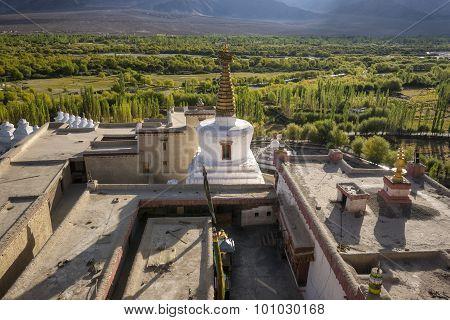 Stupa on the top of Shey Palace Leh Ladakh ,India.