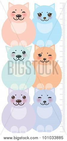 set funny cats, pastel colors  on white background Children height meter wall sticker, kids measure.