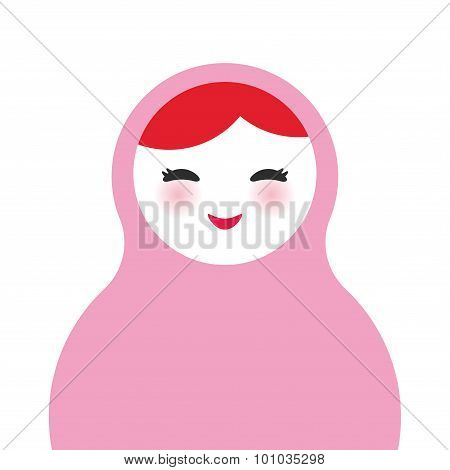 Russian dolls matryoshka on white background, pink colors. Vector